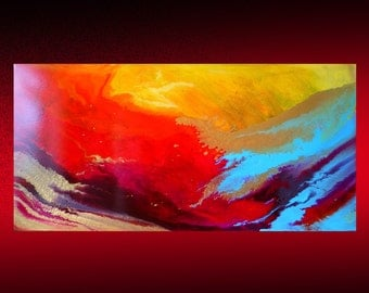 24x48 Blue Red Large ABSTRACT PAINTING | Contemporary Artwork | ORIGINAL Painting | Acrylic Canvas Art | Hand Painted | Fine art | Wall Art