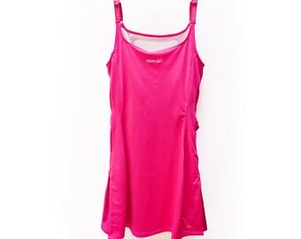 Raspberry Reebok Sporty Tennis Dress! Adorable Pink / Red Reebok Athletic Sport Stretch Mini Dress Size Medium Belted w/ Cutouts US M, UK 12