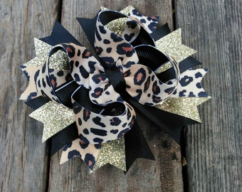 Leopard Print & Gold Glitter Hair Bow