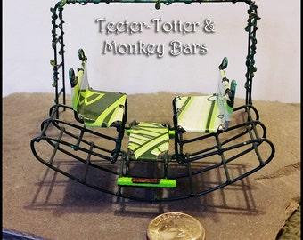 Miniature Teeter-Totter & Monkey Bars Fairy Playground Handmade Recycled Materials OOAK