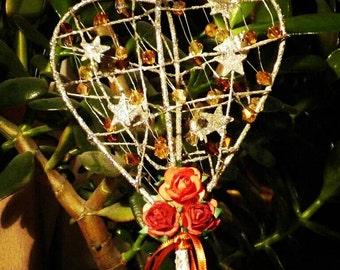 Sparkle Heart Flower girl wand Autumn Fall wedding, any colour
