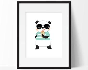 Panda Wall Art - Panda Nursery Art - Panda Print - Hipster Animals Art - Panda Nursery Decor - Panda Gifts - PRINTABLE 8x10