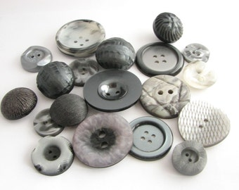 Assorted Button Lot of 20 vintage grey buttons, Some really large, Old unused sewing supplies!
