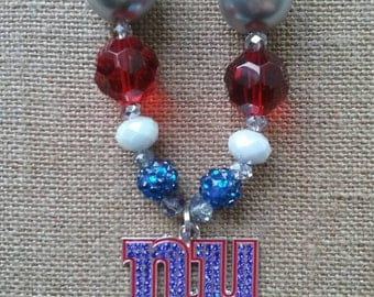 New York Giants NFL Football Bubble Gum Bead Necklace