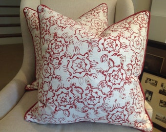 Pillow Cover in John Robshaw fabric for Duralee-red Dazda Design, Red Cord Trim, White Linen Backing