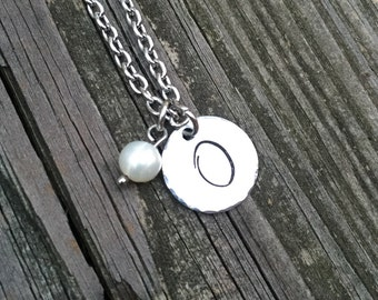 """Initial """"O"""" Necklace Hand-stamped with freshwater pearl & stainless steel chain"""