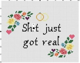 Sh*t just got real- Wedding Cross Stitch Pattern - Instant Download