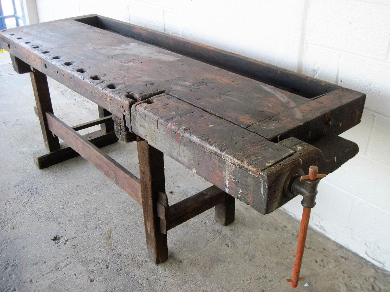 Antique Carpenters Work Bench Kitchen Island Wood