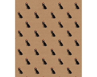 """French Bulldog Wrapping Paper: Frenchie Print Kraft Gift Wrap Sheet with Love Hearts (70cm x 50cm / 27.5"""" x 19.5"""")"""