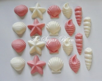 SEASHELL CHOCOLATE CUPCAKE Toppers*18 Count*Bridal Shower Favors*Summer Beach Party*Nautical Theme Favors*Chocolate Sea Shells*Wedding Favor