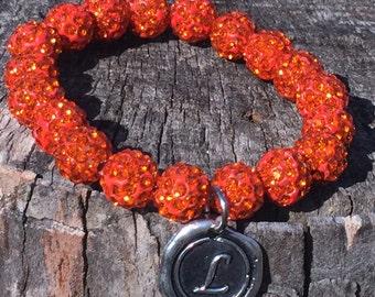 Orange Shamballa Bead Bracelet with Initial of your choice
