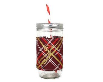 Christmas Plaid Mason Jar Tumbler, Burgundy Plaid Monogrammed Tumbler, Gifts for Her, Hostess Gift, Bridesmaid Gift, Gifts Under 25
