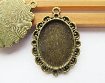 Antique Bronze Oval Frame Base Setting Tray Bezel Pendant Charm/Finding,Border Flower,18mmx25mm Cabochon/Cameo,DIY