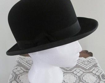 Very Dapper 1940's  Gordon Derby Bowler Hat/Black Felt/Steampunk Derby Size 7 1/8  #16131