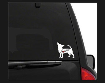 Chihuahua Love: A Car Window Vinyl Decal - Laptop Sticker - Dog Breed Decals - Dog Stickers - Cooler Decal - Gift for Dog Lover