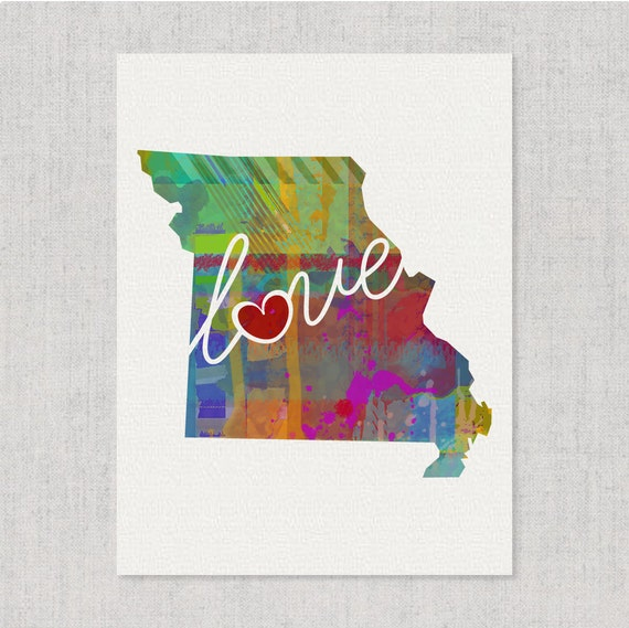 Missouri Love Mo Canvas Paper Print By Traciwithanidesigns