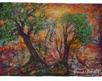 Fiber  landscape picture , Felt art painting   Felt wall art  , Painting with wool , Fiber art mixed media , Textile art , OOAK