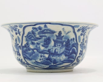 "Beautiful Blue and White Porcelain Blue Willow Bowl 10"" Diameter"
