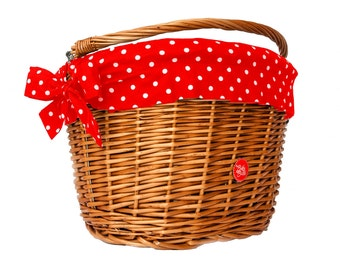 Bicycle Basket Liner, Bike Belle Polka Red