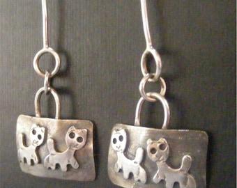 Sterling silver earrings with cat motif