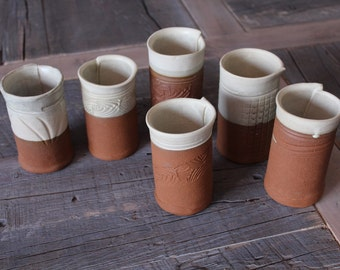 Tumblers set of 6 organic and rustic