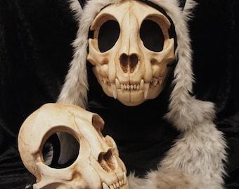 Cat Skull Mask - Full - Painted