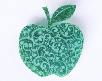 Acrylic / Perspex / Apple Brooch/ Apple for the Teacher Brooch / Glitter Brooch / Green Brooch / Handmade Brooch / Perspex Jewelry