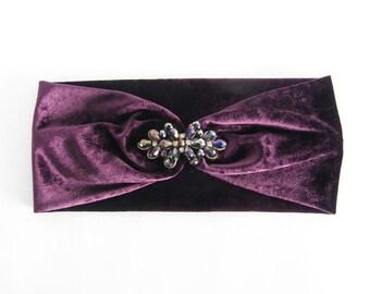 Purple velvet turban Zahra