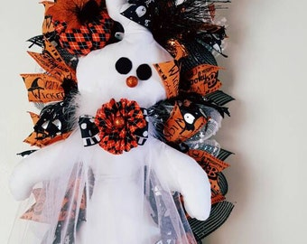 Halloween Wreath, Ghost Wresth, Mr.Boo Wreath, Halloweem decor, Halloween door decor, Decomesh wreath