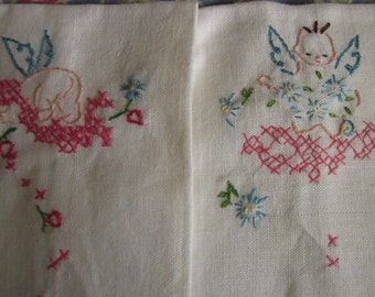 Vintage Angel Baby Nursery Embroidery Linen Tea Towel Unused