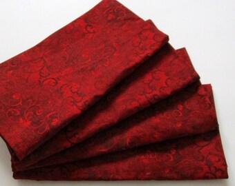 Large Cloth Napkins - Set of 4 - Red Swirls Spirals - Everyday, Dinner, Table, Wedding