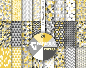 gray and yellow geometric digital paper grey geometrical pattern mosaic triangle for scrapbook party supplies modern graphic commercial use