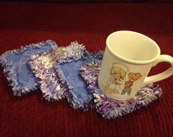 Coasters - Set of 4 - Purple/Blue Oil Spill - Cotton Rag Quilting
