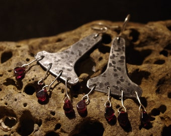 Pewter and garnet drop earrings