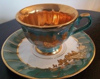 Lovley Green And God Lustre Cup And Saucer From Turkey