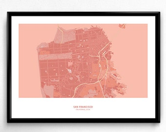 San Francisco City Map Poster Art Monochromatic Color