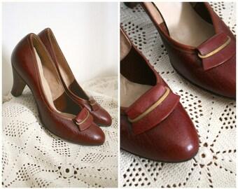 1950s | Cognac Brown Leather Pumps | Size US 6