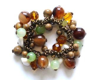 S A L E!!! CHA CHA BRACELET Brass Variety Glass Beads