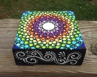 4x4 Embellished Dot work Mandala