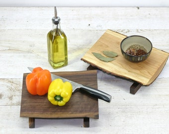 Salvaged Live Edge Wood Footed Chef Cutting Board, Lunch Plate,  Cheese Veggie Display Wedding Centerpiece. Black Walnut, Cherry or Maple