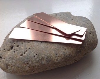 1 pure copper bookmark blank cut from 0.7mm sheet metal.