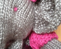 Grey elephant hand knitted softy ornament, snugly elephant softy with purple dress and pink bolero