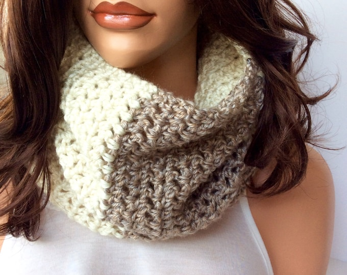 Brown and Cream Soft Crochet Cowl, Winter Scarf in Neutral Colors, Super Soft and Luxurious Warm Winter Crochet Cowl for Women or Teens