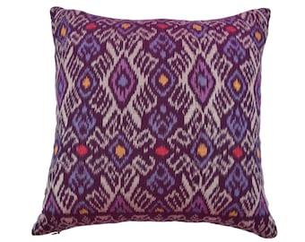 Deep Purple Ikat 16 x 16 cushion cover