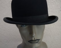 Size 7 3/8 -- Virtually Unworn Fabulous Black Ultra High-End Dobbs 1900s - 1910s - 1920s Bowler / Derby Hat