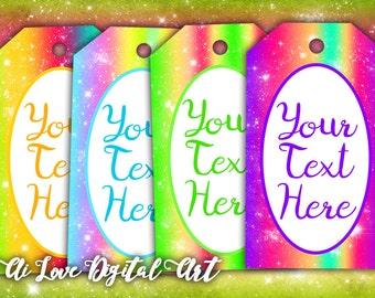 Digital download, editable gift tags printable images, digital collage sheet, instant download, Glitter, customizable tags, jewelry cards