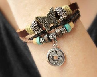 Bohemian Jewelry-Leather Cuffs For Women-Leather Bracelets for Women-Womens Gift-Gift for Her-Boho Beaded Bracelet-Layered Leather Jewelry