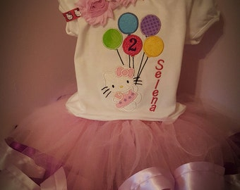Hello Kitty Inspired Birthday Tutu Set  ~ Personalized Birthday Outfit ~ Personalized Birthday Tutu Set