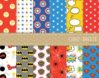 Superhero Comic Digital Papers - Clipart & Vector Set - Instant Download - Personal and Commercial Use - Speech Bubbles Comic Book