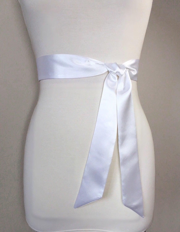 Narrow white satin sash white sash belt bridesmaid sash for Satin sash for wedding dress